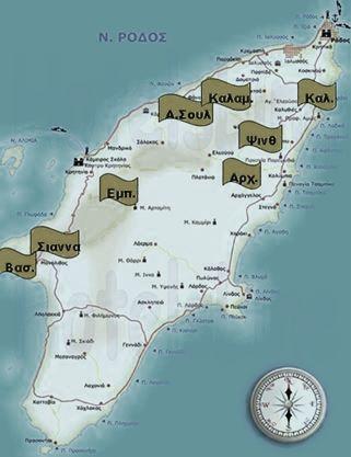 Χάρτης της Ρόδου με τις περιοχές δειγματοληψίας κλαδιών πεύκου